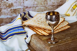 Passover red wine and matzoh jewish