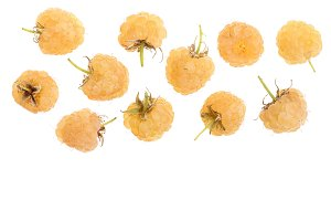 Yellow raspberries isolated on white