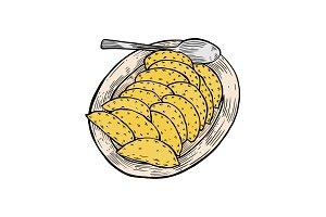 vareniki on a large plate