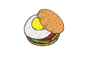 Colored Hamburger. Fast food.