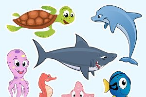 Sea Animals Clipart, Underwater Life