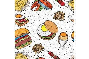 Hand drawn monochrome Fast food