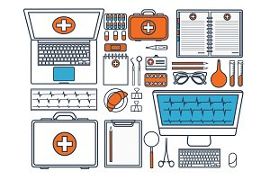 Medical flat background. Health care