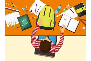 Back to school flat background