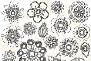 Doodle Flowers Clipart and Vectors