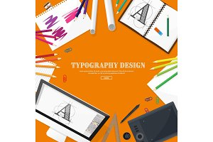 Graphic web design. Drawing and