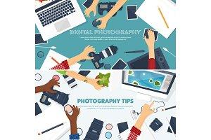 Photographer equipment on a table