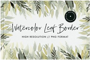 Watercolor Leaf Border