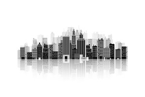 Vector illustration. Set of city