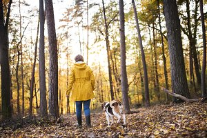 Senior woman with dog on a walk in