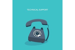 Vector illustration. Retro telephone