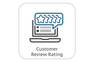 Customer Review Rating Line Icon.