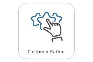 Customer Rating Line Icon.
