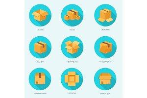 Vector illustration. Flat carton box