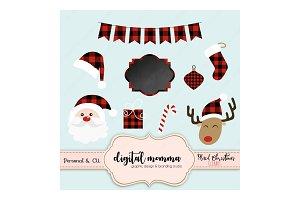Buffalo Plaid Christmas Clipart Set