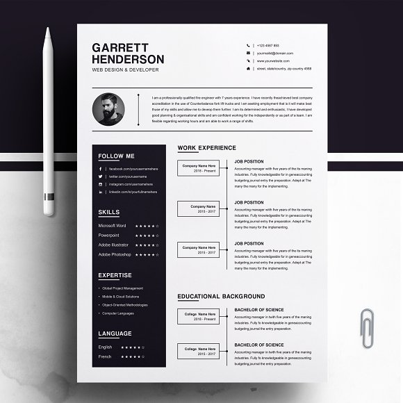 One Page Resume Cover Letter CV Cover Letter Templates