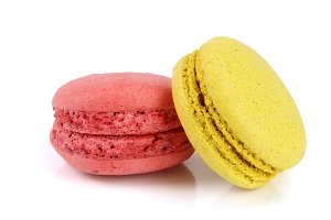 yellow and red macaroon isolated on