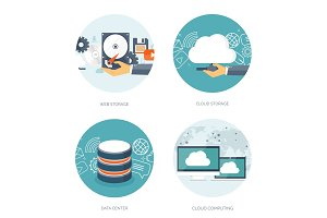 Vector illustration. Flat cloud