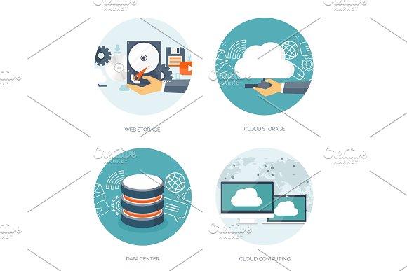 Vector illustration. Flat cloud