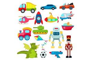 Kids toys vector cartoon games