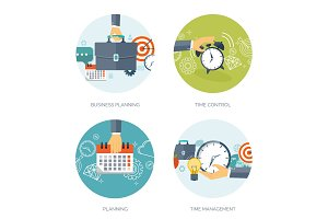 Vector illustration. Clock flat icon