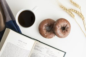 Fall Donut & Coffee Styled Flat Lay