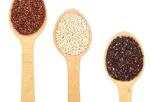 Black red white quinoa seeds in