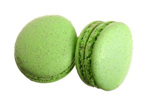 green macaroon isolated on white