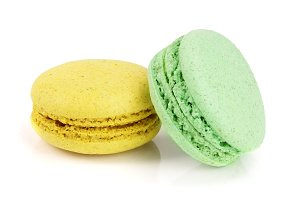 yellow and green macaroon isolated