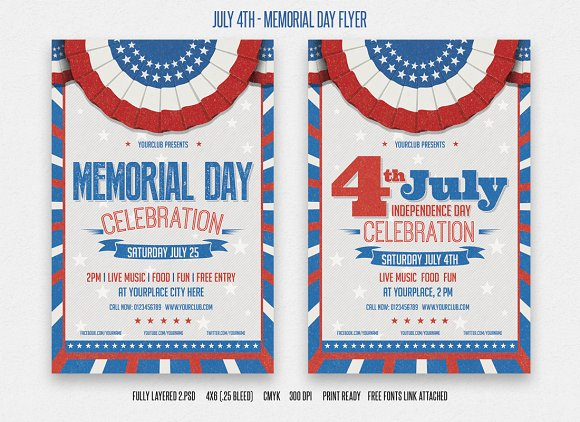 july 4th and memorial day flyer flyer templates creative market