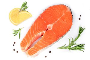Slice of red fish salmon with lemon