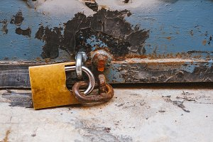 Old rusted padlock