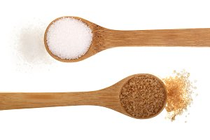 granulated brown and white sugar in