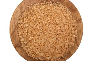 brown granulated sugar in wooden