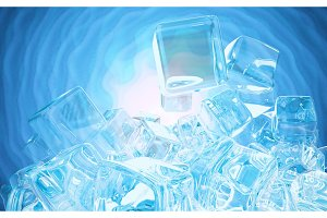 Ice cubes isolated on blue
