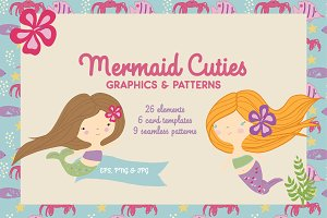 Mermaid Clipart and Patterns