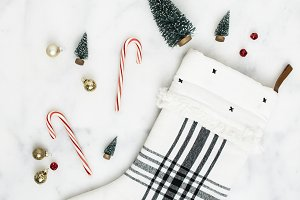 Plaid Stocking Holiday Flat Lay