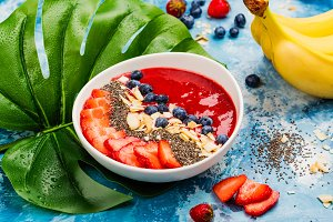Red smoothie bowl