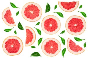 Grapefruit slices with leaves