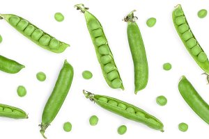 Fresh green pea pod isolated on