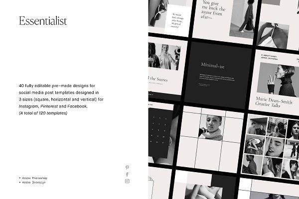 Social Media Templates: T E M P L Y - Essentialist Social Media Pack