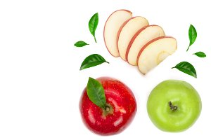 red and green apples with slices and