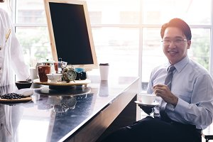 Asian smart businessman as male cust