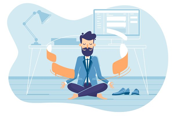 Businessman in working balance
