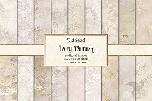 Distressed Ivory Damask Textures