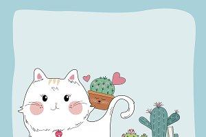 Cute cat and cactus in flower pot