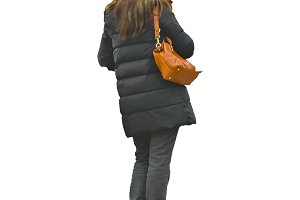 Back View Woman with Bag and Winter