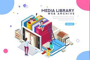 Media Library Vector Banner