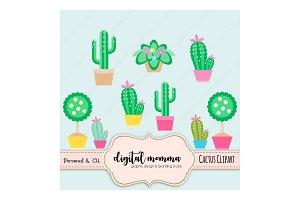 Cute Cactus, Topiary Clipart Set