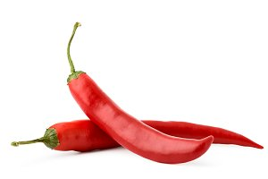 Red hot pepper on white background